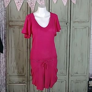 Nanette Lepore silk linen pink sweater dress